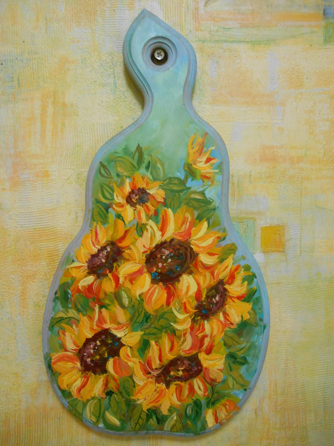 Wood cutting board Sunflowers painting Flowers ornament Country ...