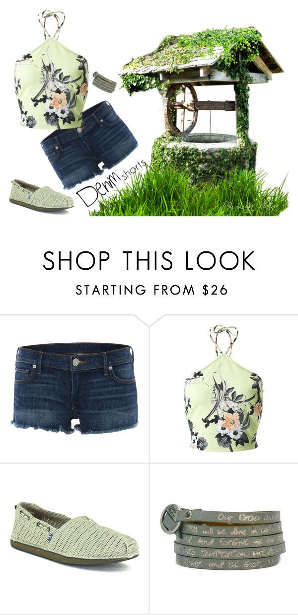 """""""green and denim"""" by luna-nativa ❤ liked on Polyvore featuring True Religion, Miss Selfridge, Skechers, Good Work(s) Make A Difference, jeanshorts, denimshorts and cutoffs"""