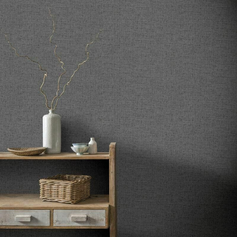 Arthouse Wallpaper Herringbone Charcoal Grey 942407 Wonderwall By Nobletts Herringbone Wallpaper Grey Herringbone Wallpaper Wallpaper Decor