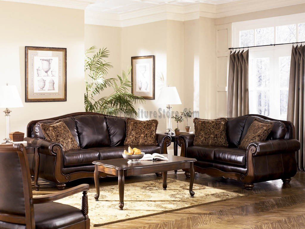I Love The Dark Grain Leather On These Couches And Chair The Dark Walnut Color On The Ashley Furniture Living Room Leather Living Room Set Living Room Leather