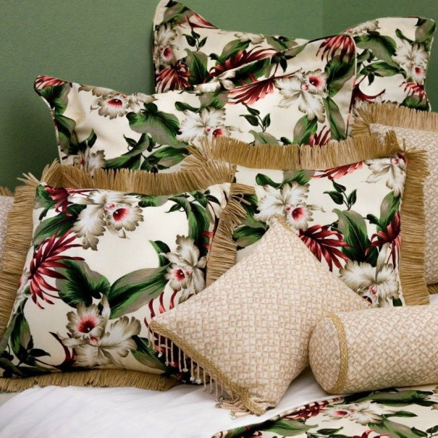 Hanalei Orchids Bedding Collection in Natural - Orchids Bedding Collection in Natural