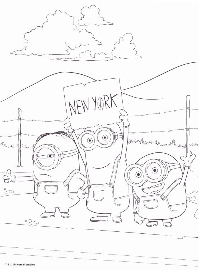 Coloriage Gratuit New York.Coloriage Minion Gratuit En Route Pour New York Applique