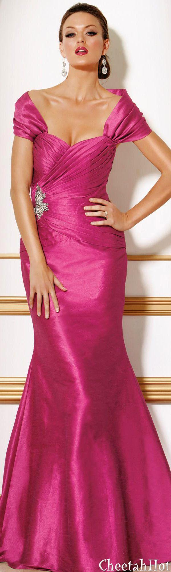 Jovani authentic designer dress elegant long fuchsia gown
