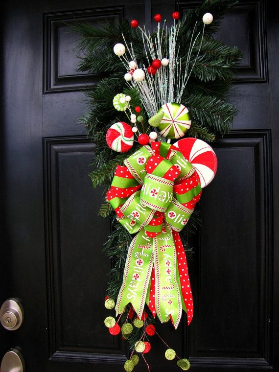 CLEARANCE SALE Christmas Wreath/Swag for Front Door with Candy - christmas clearance decor