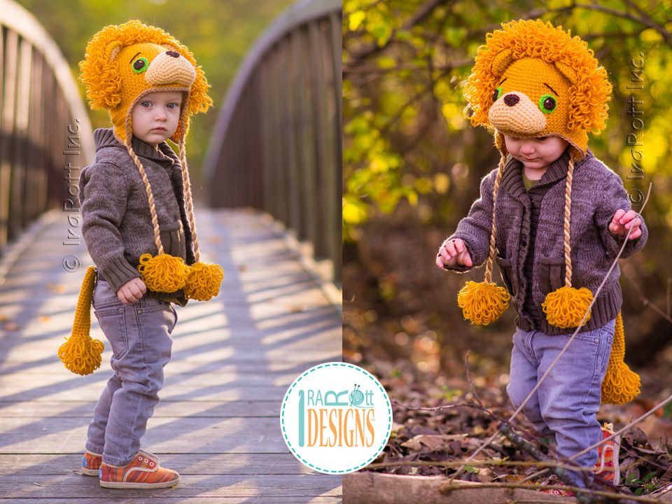 eafd17f9785 Lion Animal Hat Crochet Pattern for Babies Infants Kids and Adults