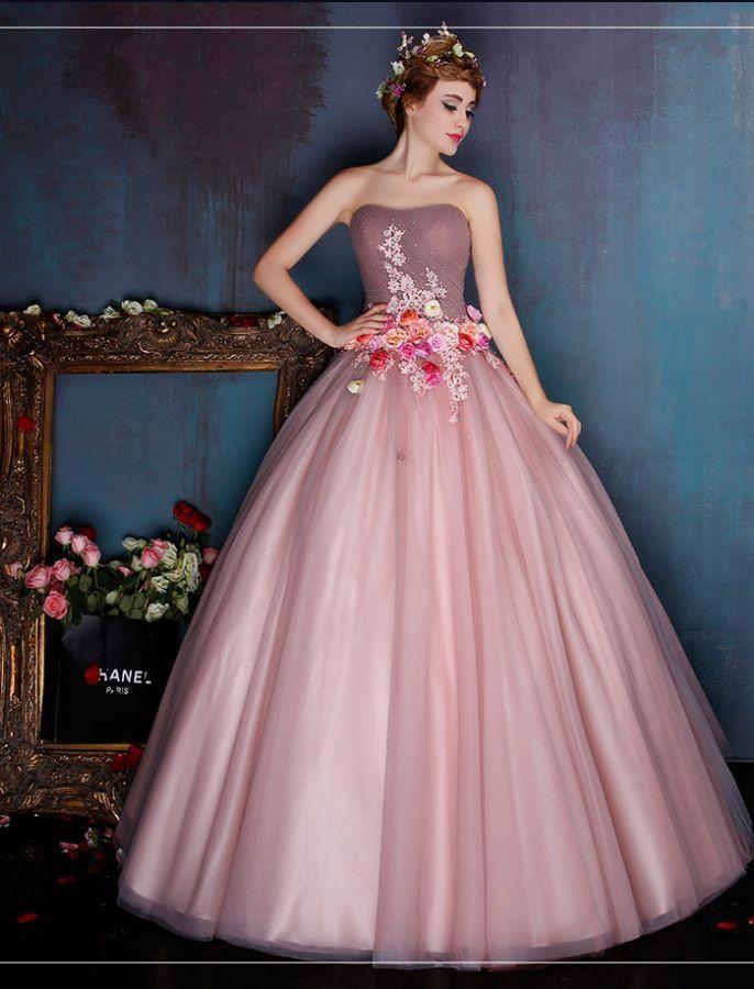 Retro Style Strapless Floral Ball Gown | xvaños | Pinterest | Moda ...