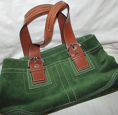 Coach Green Leather Handbag F10920 Brown Handles Silver Buckles Clean Purse