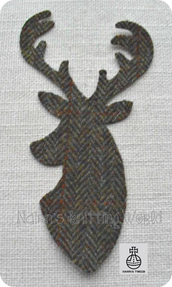 Fabric Stag Iron Sew On Cashmere Appliqué Head Cut Out Black
