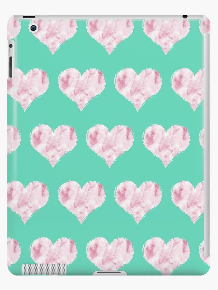 193117fae3 A pattern of pink marble hearts on a turquoise background iPad case by  Fable & Grace on Redbubble. #iPad #iPadcase #iPadcover #tech #tabletcase  #cute