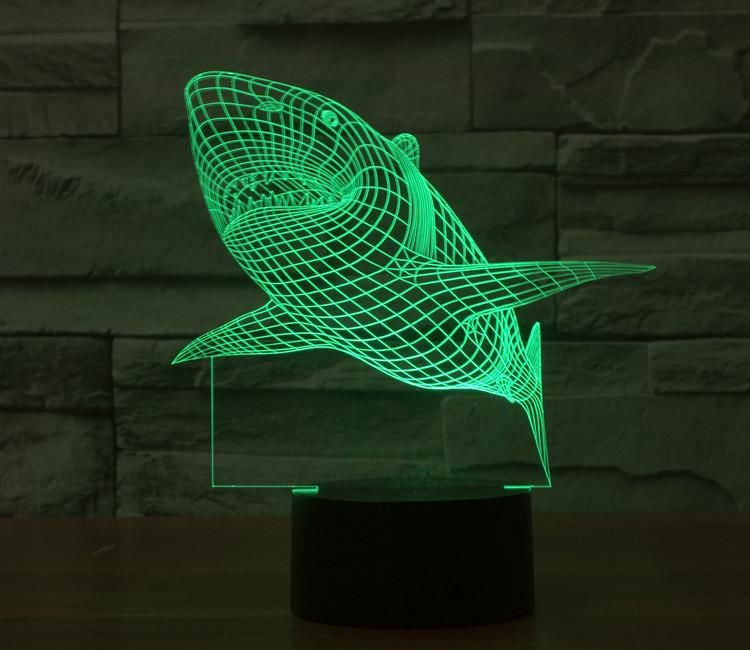Shark 3d Illusion Lamp 3d Illusion Lamp Night Light Cool Lamps
