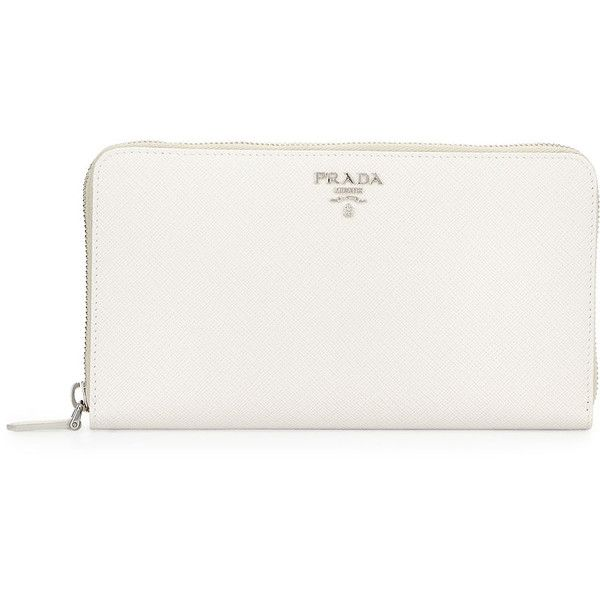 b98f92ab2b Prada Saffiano Metal Oro Travel Wallet ($665) ❤ liked on Polyvore featuring  bags, wallets, clutches, white, hardware bag, prada, zip around travel  wallet, ...
