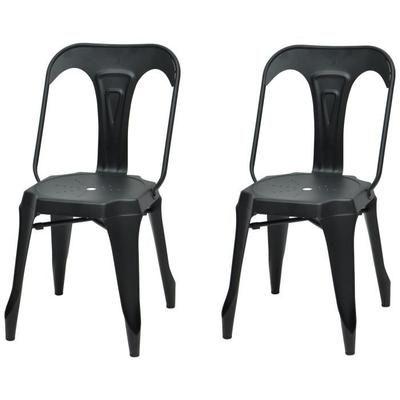 kraft zoeli lot de 2 chaises de salle manger mtal noir mat style - Vente De Chaises
