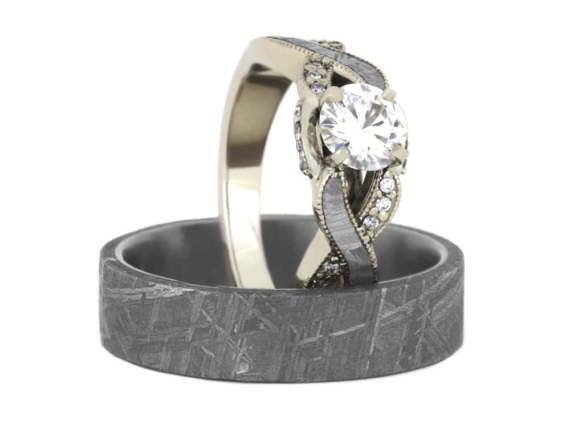 Gibeon Meteorite Wedding Ring Set Moissanite Twist Engagement In White Gold With Mens Titanium