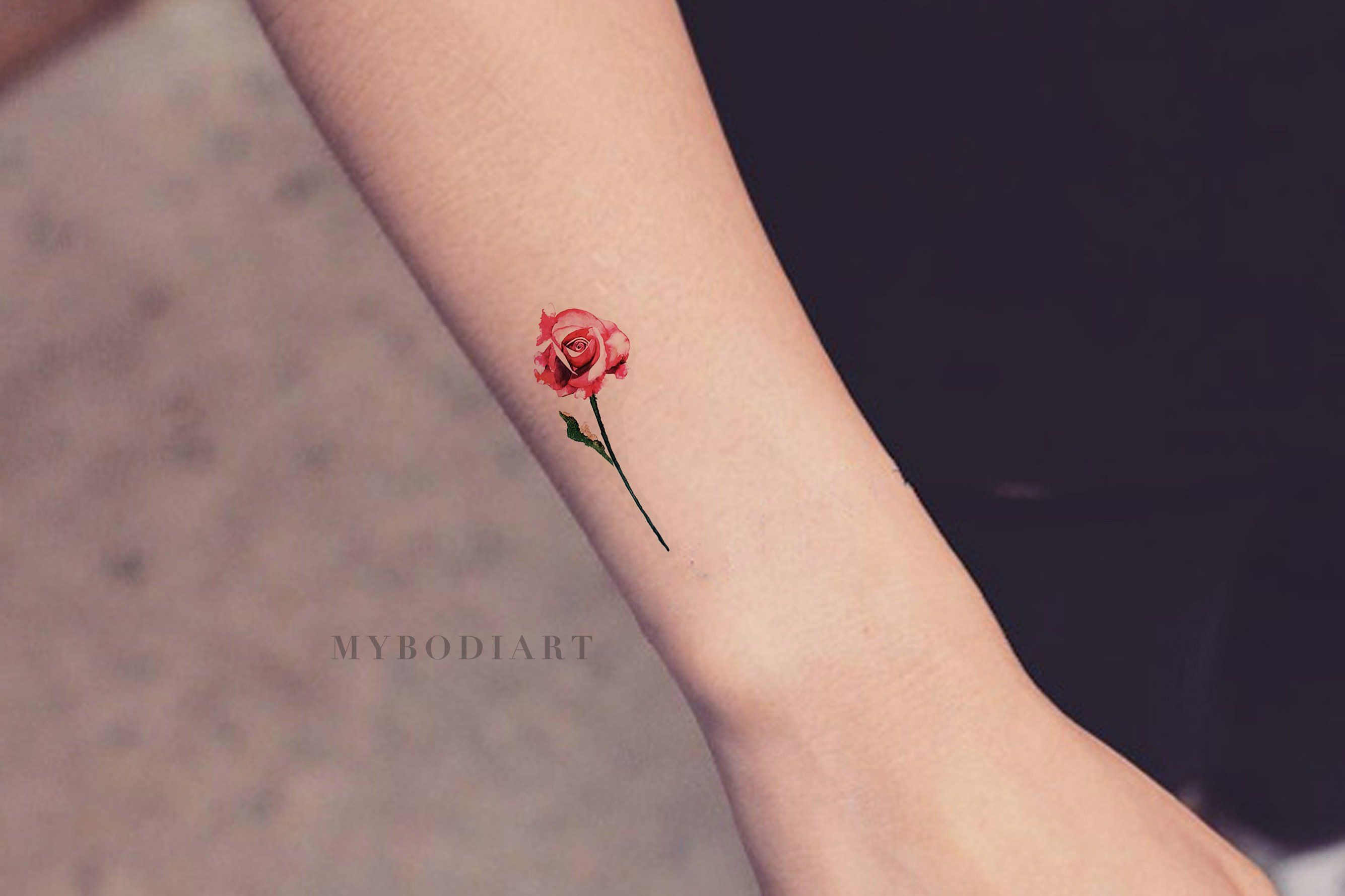 Carolyn Small Watercolor Realistic Single Red Blue Rose Temporary Tattoo Small Rose Tattoo Rose Tattoos Watercolor Rose Tattoos