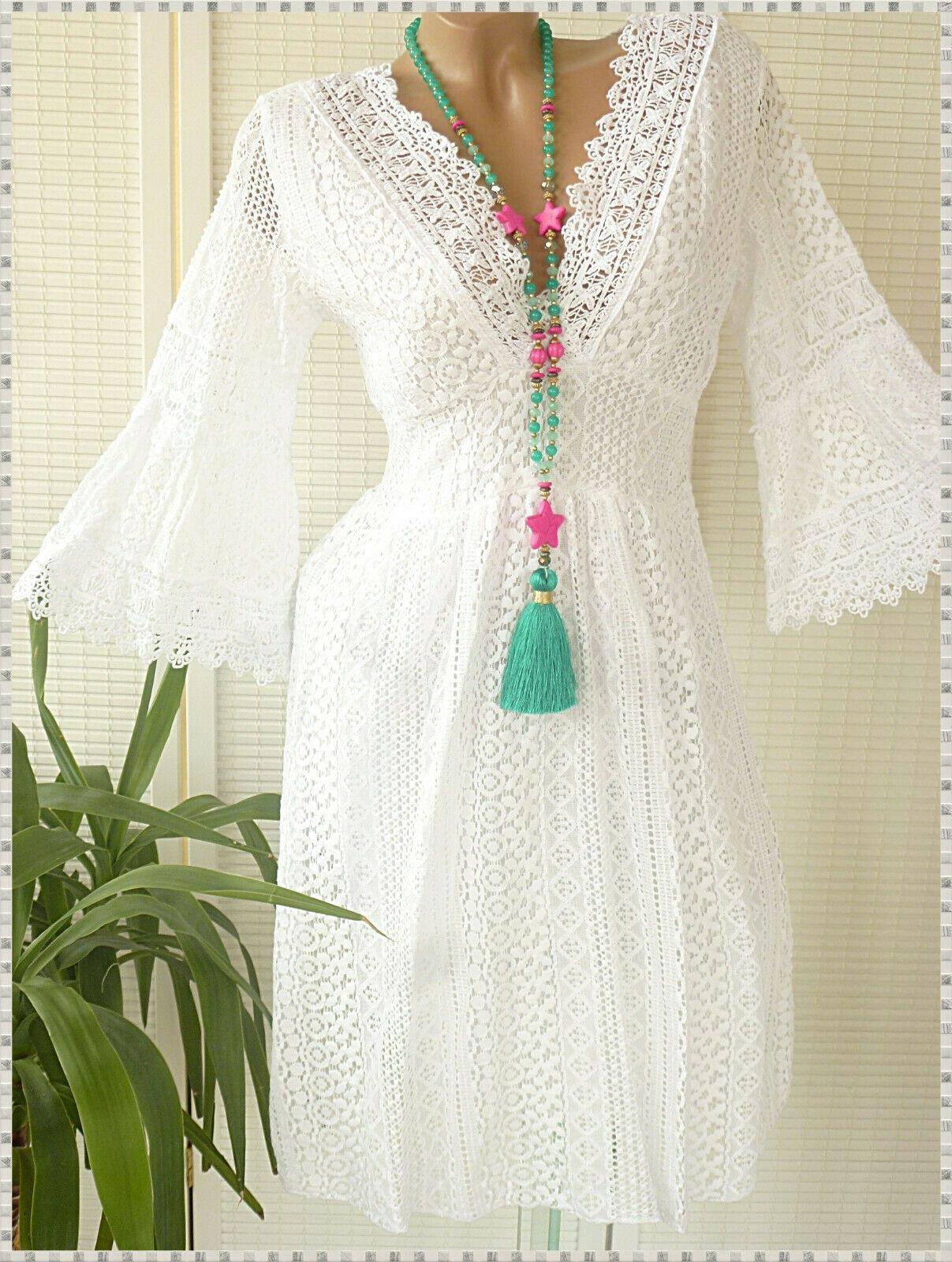36 38 Schones Spitzen Kleid Unterlegt Hakel Spitze Weiss Hippie In 2020 Schone Kleider Kleid Spitze Kleider