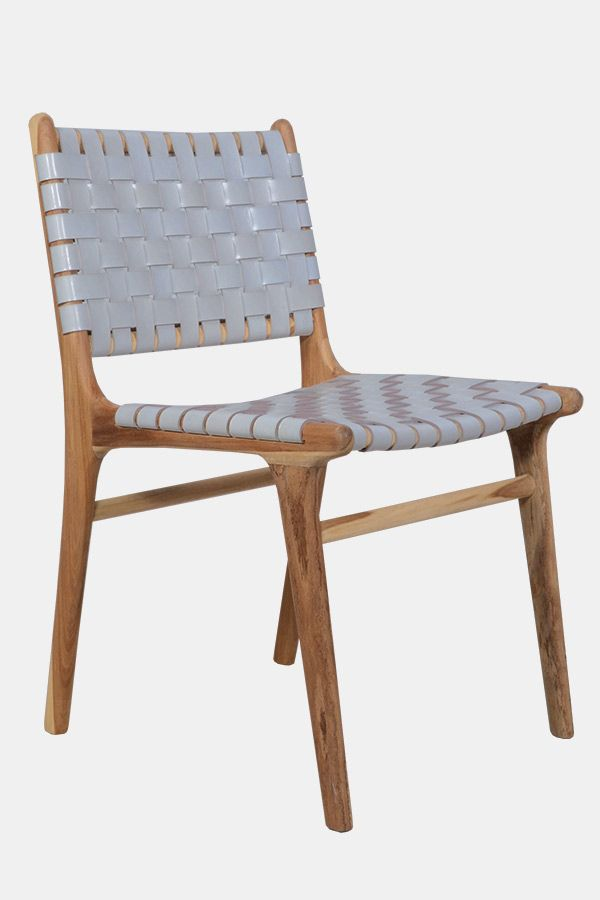 Teak dining chair with grey leather strapping