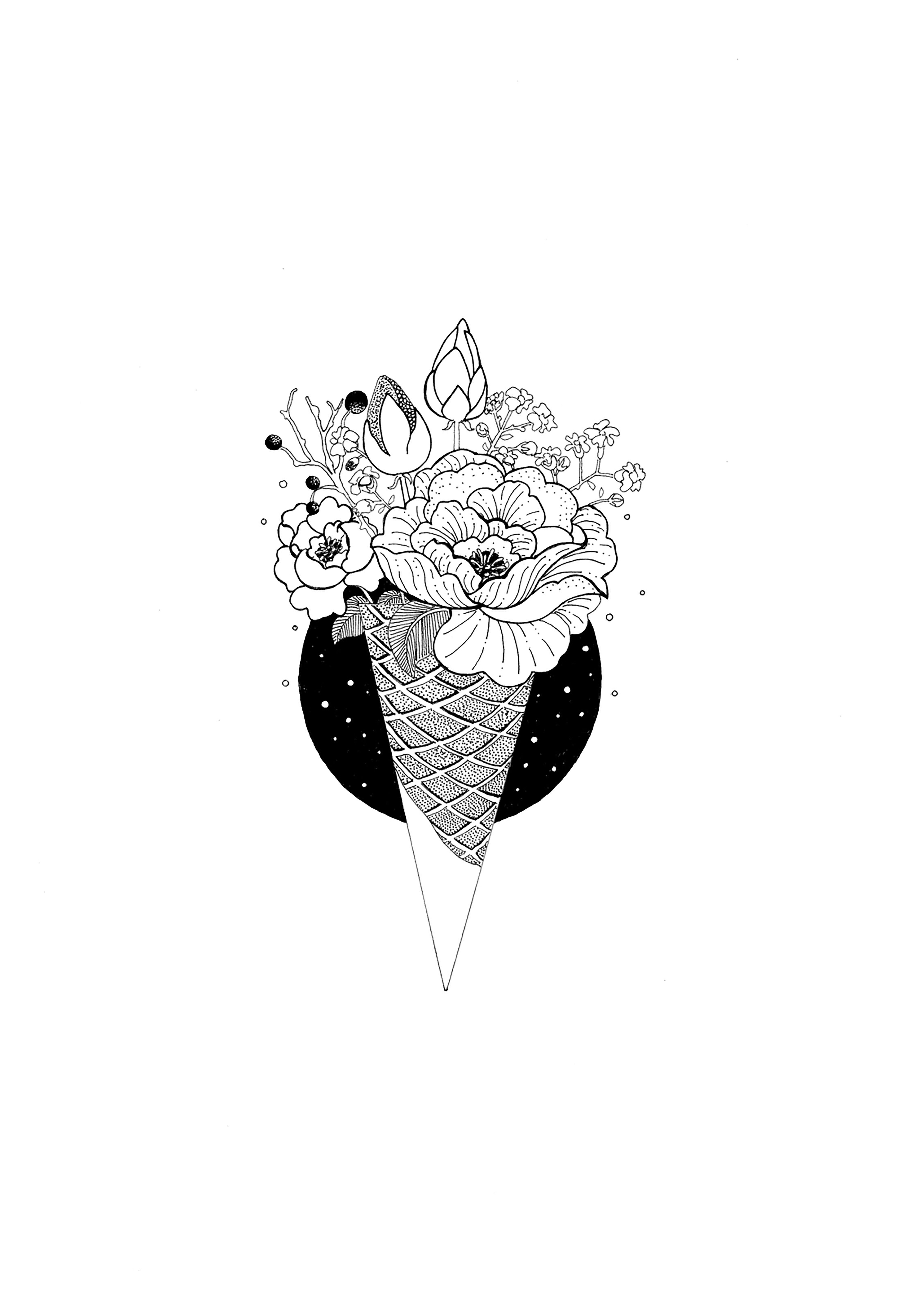 Cone Flowers Emotional Art Flower Drawing Pen Art