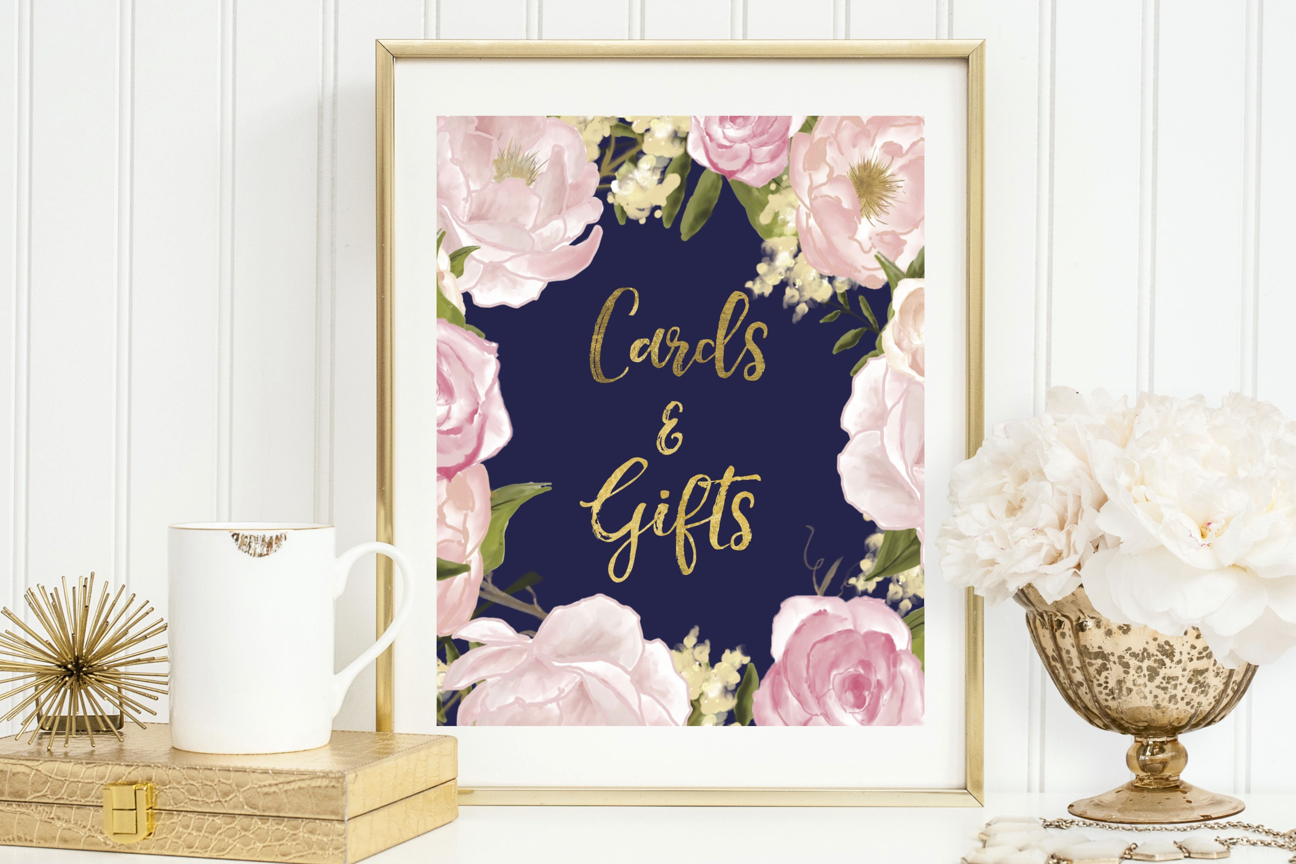 Navy + Blush + Gold Cards And Gifts Sign