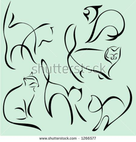 A set of 6 vector illustrations of animals in unique exquisite and ornamental style.