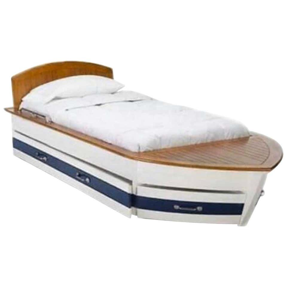 Beautiful Pottery Barn Boat Bed Trundle Storage Wood Deck Blue White In 2020 Boat Bed Boat Beds For Kids Boat Furniture
