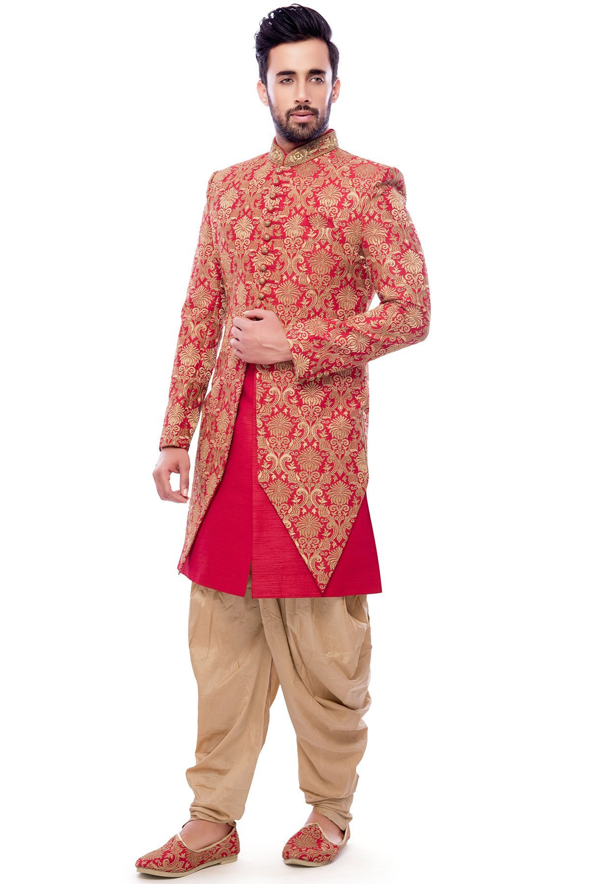 Pink & Gold Raw Silk Zari Embroidered Wedding Sherwani-SH529 ...