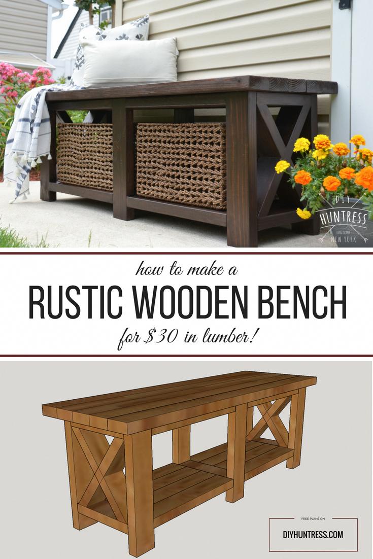 Photo of DIY Rustic X-Bench (Free Woodworking Plans) – DIY Huntress