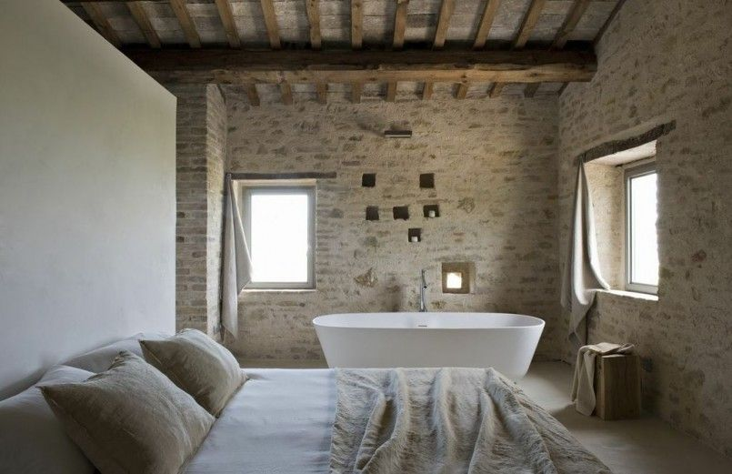 Converted Old Farmhouse In Modern And Elegant Design  Open Fascinating Open Bathroom Bedroom Design Inspiration