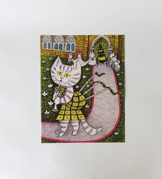 Mid-Century Cat Print Art Wall Decor Picture Bagpipes ...