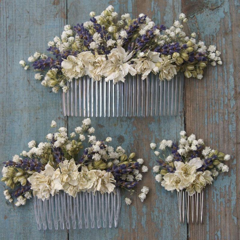 Lavender Flower Hair Wedding Style: Lavender Twist Baby's Breath Hair Comb