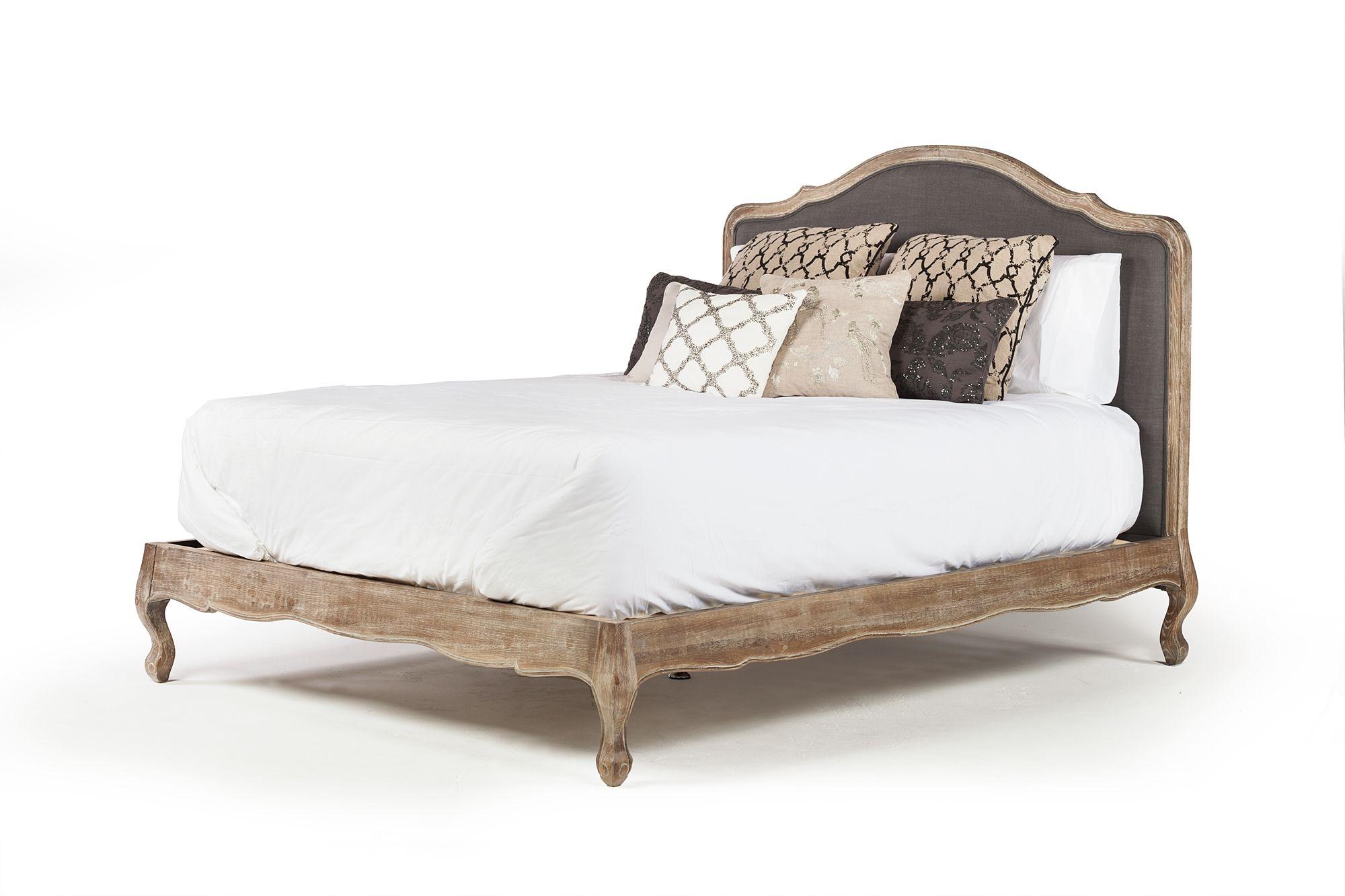Sabina Linen Upholstered Bed Frame In Grey Linen Queen