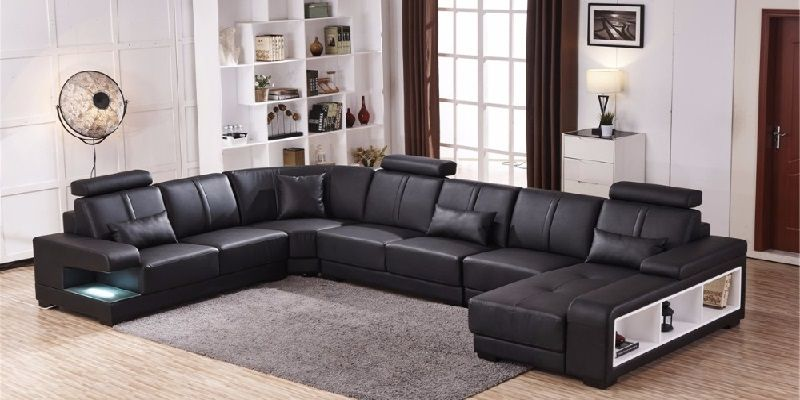 Modern Design Genuine Leather 7 Seater Sectional Sofa
