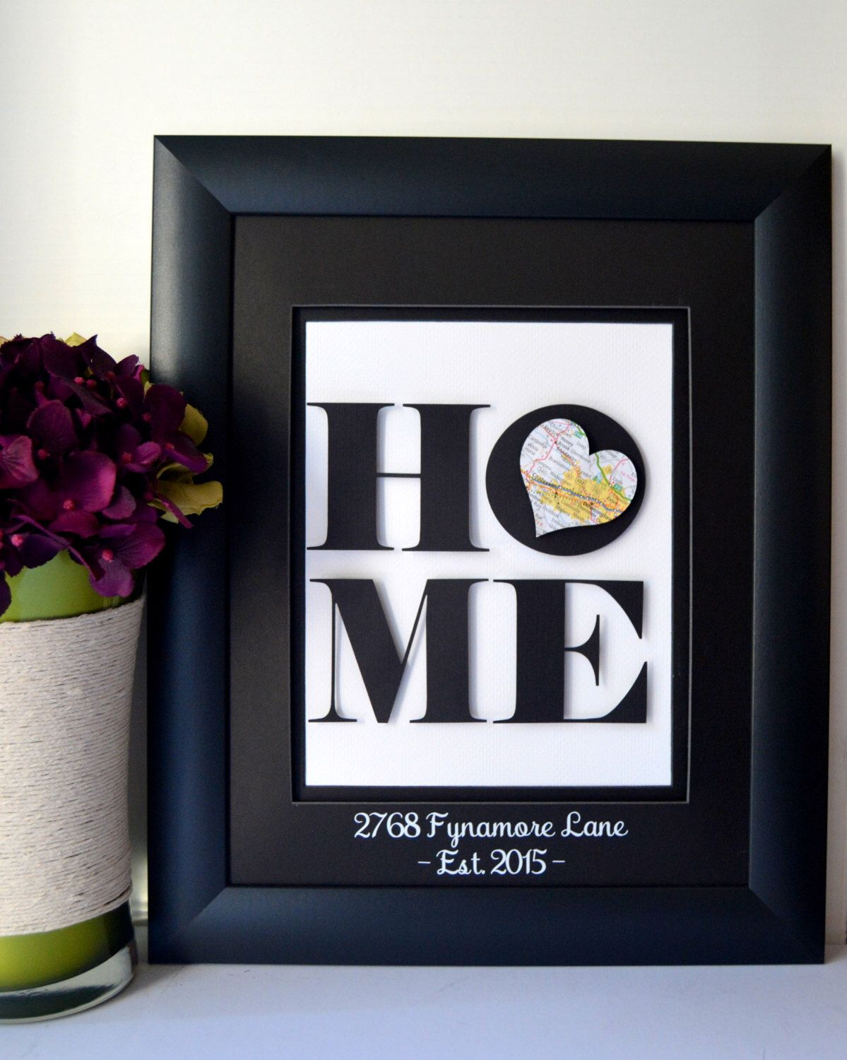 Unique housewarming gift new home address art new home for Unique housewarming ideas
