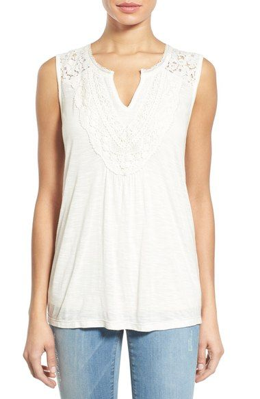 This is beautiful in Teal.  Caslon® Lace Bib Split Neck Tank (Regular & Petite) available at #Nordstrom