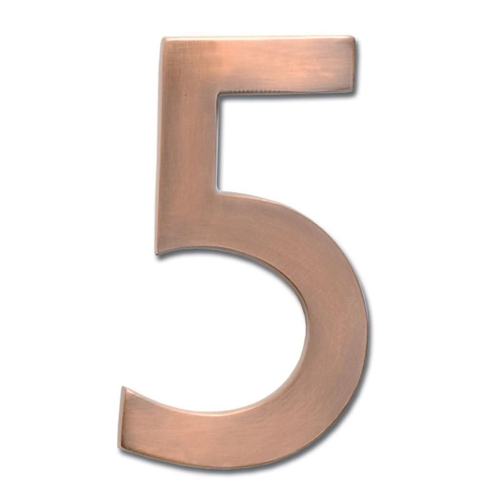 Architectural Mailboxes 4 In Antique Copper Floating House Number 5 3582ac 5 Architectural Mailboxes Copper House Floating House