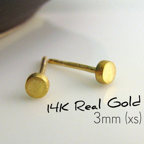 14k Solid Gold Stud Earrings For Men Or Women By 360jewelselite 89 00 Also Available In Rose And White