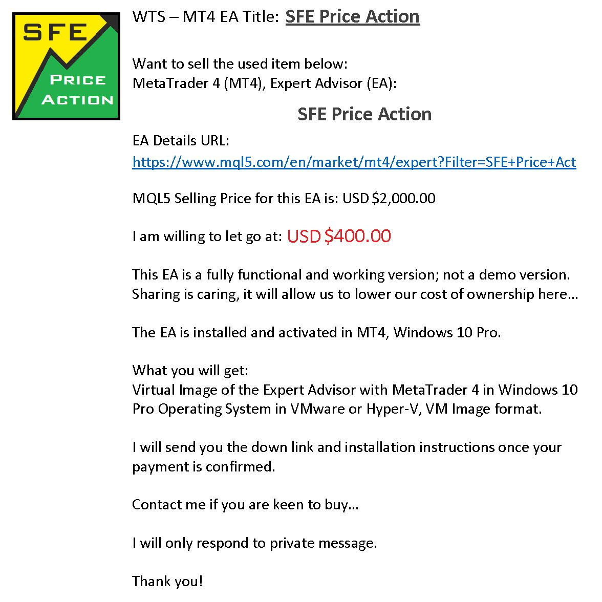 Sfe Price Action Ea Things To Sell Marketing Action