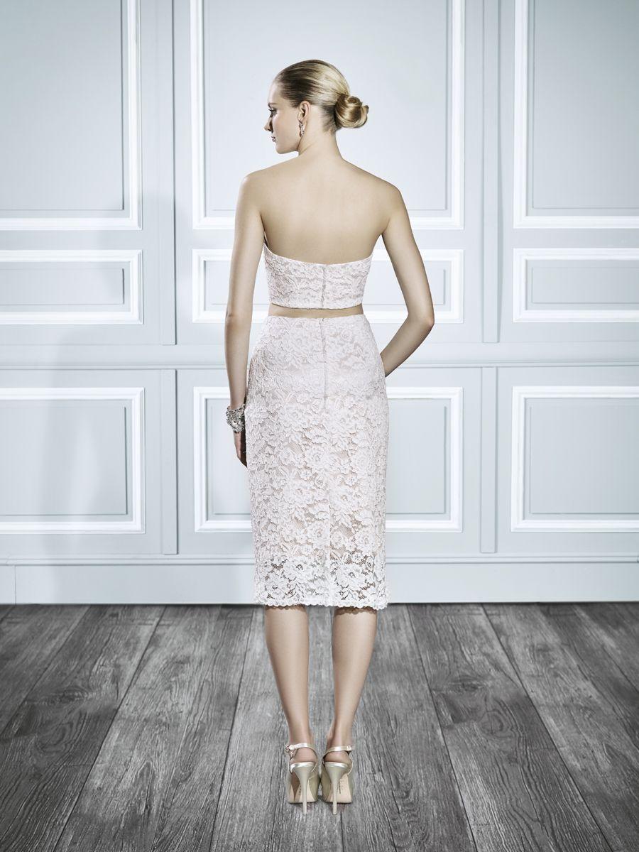 Moonlight style t short wedding dress twopiece wedding dress