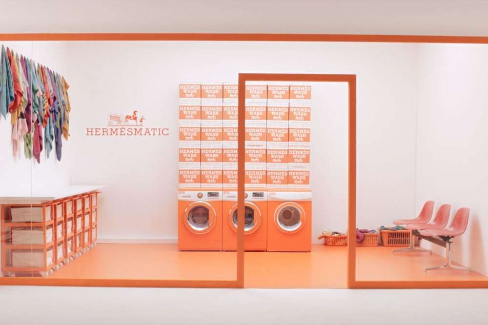 Hermès Created a Laundromat Where They'll Dye Silk Scarves