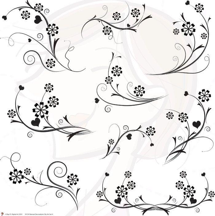 Digital Flourish Swirls Damask Decorations Flowers Clip Art Clipart Black And White Decorative Wedding Scrapbooking Supplies
