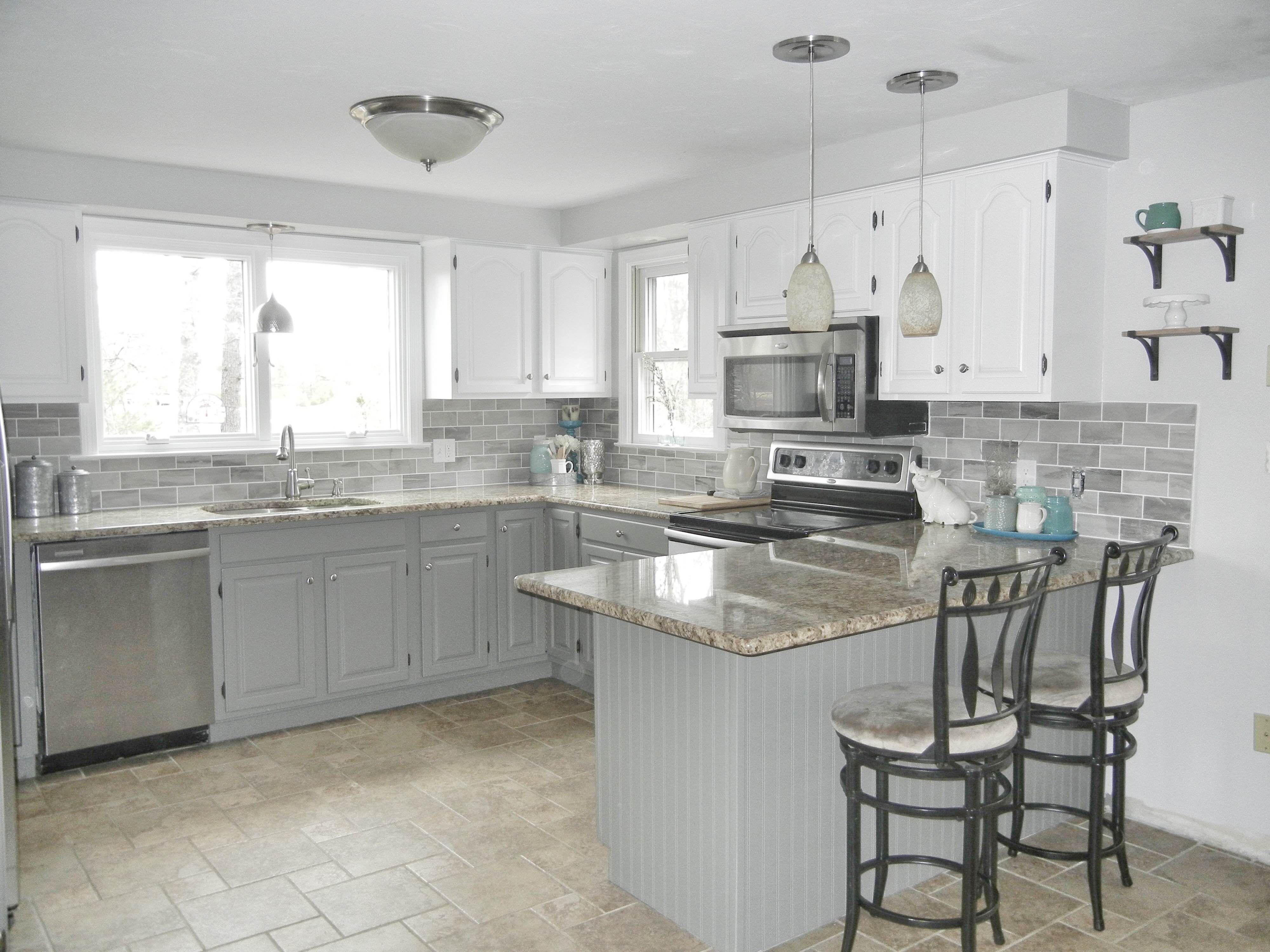 Our oak kitchen makeover white cabinets pinterest kitchen