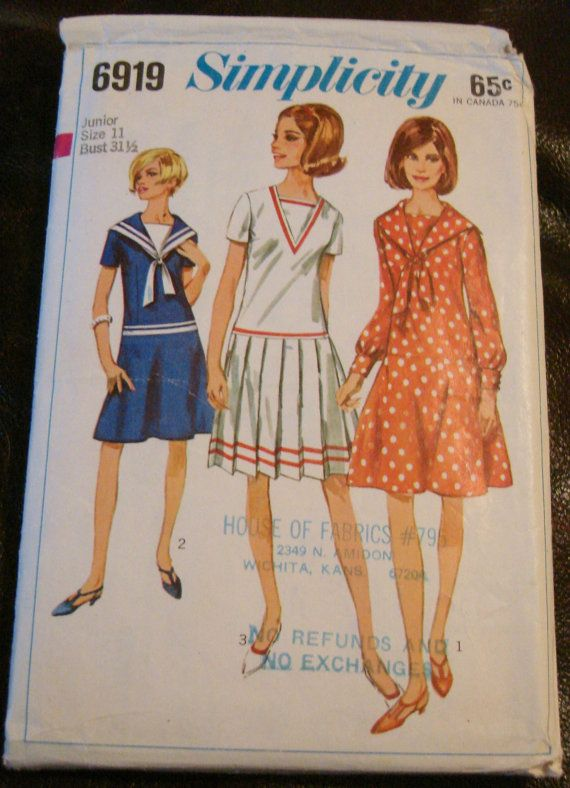 1960s Sailor Dress with Two Skirts Sewing Pattern by VivianVanOwen ...