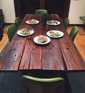 Recycled Timber Dining Table Railway Sleepers With Chairs