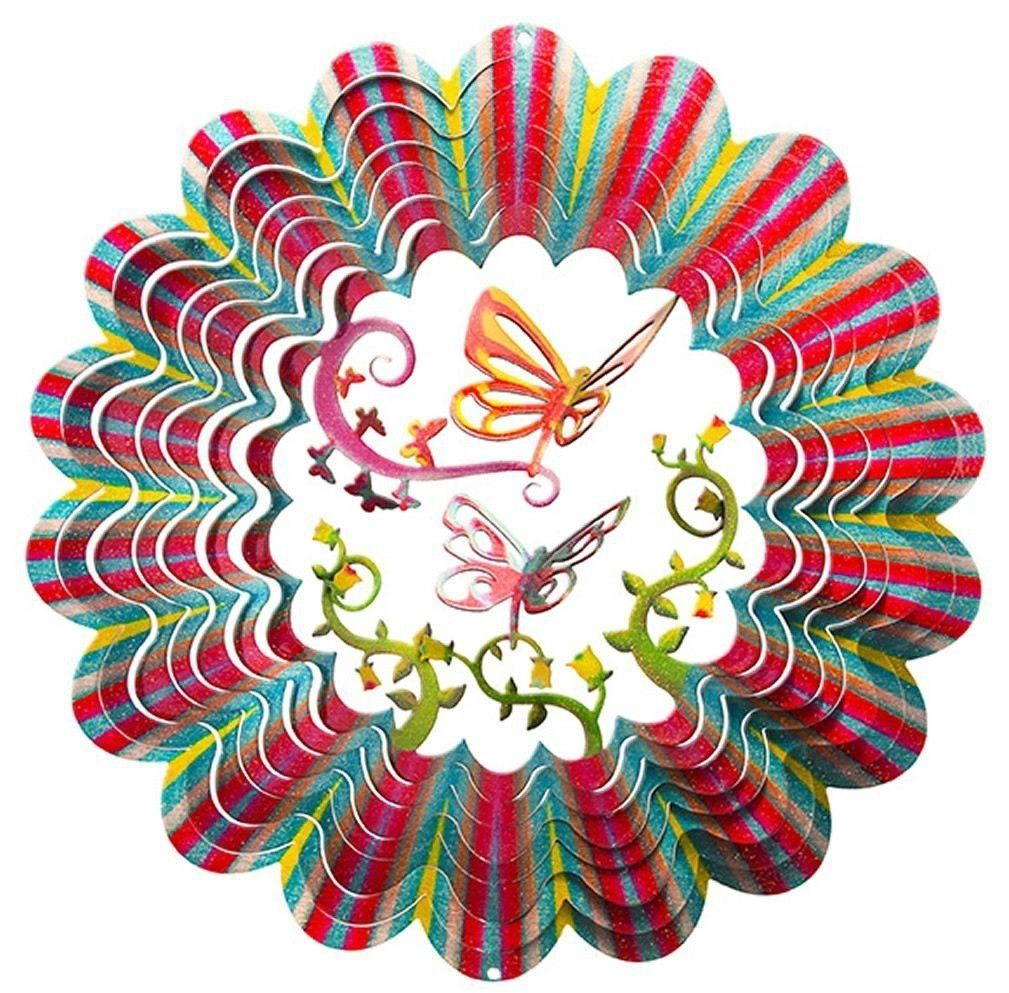 Butterfly 3D Multi Color Garden Wind Spinner, Metal Yard Art And Outdoor  Decor, 12 Inch U2026