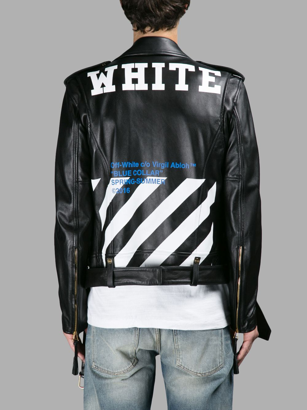 レザーアウター OFF WHITE C/O VIRGIL ABLOH MEN'S BLACK BLUE COLLAR