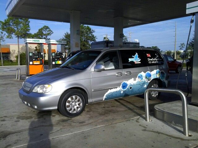 The scuba mobile, going from coast to coast.
