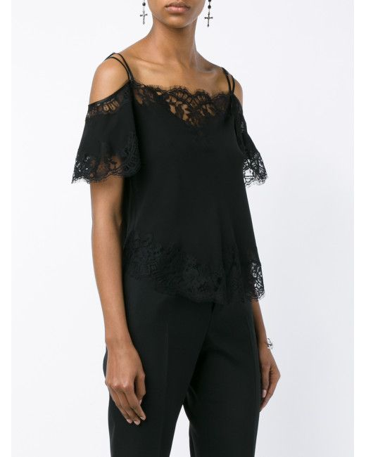 Givenchy | Black Sleeveless Silk Lace Top | Lyst