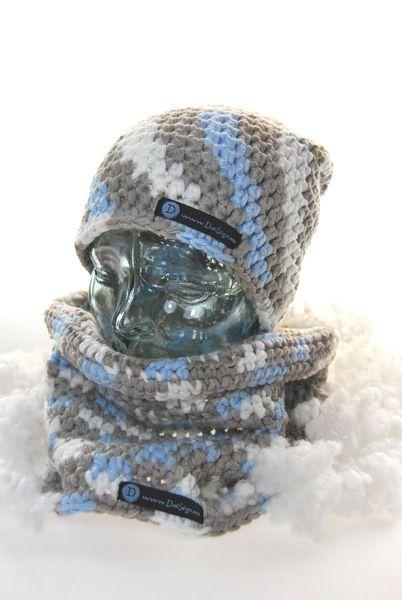 Mütze / Beanie grau - weiß - blau von DaiSign auf DaWanda.com