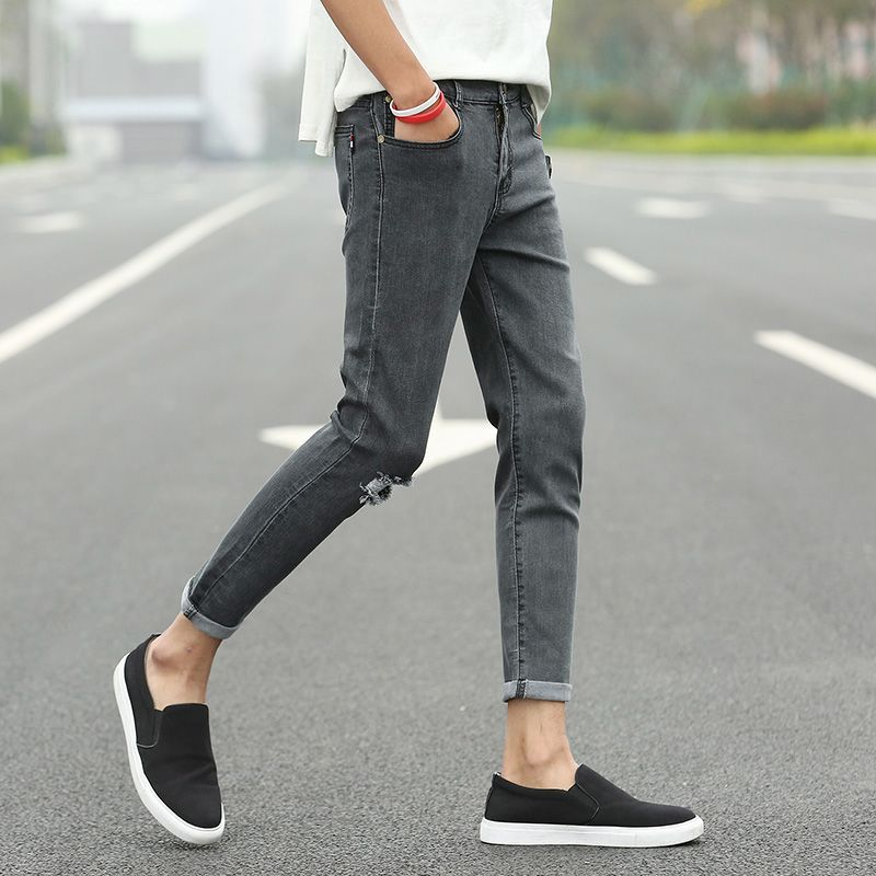 a76ec8ac9622 New Men s 9 Point Slim Jeans Fashion Skinny Elasticity Ankle-Length Jeans  Male Ripped Jeans