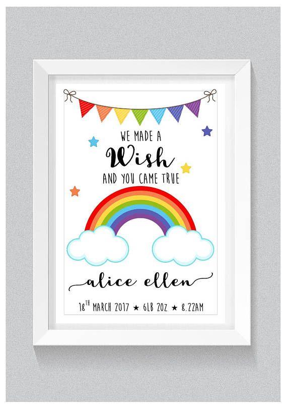 A4 Personalised Rainbow Nursery Print: New Baby Girl or ...