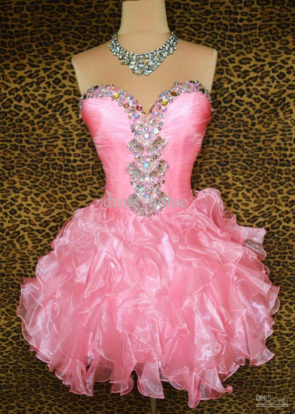 Cheap hot princess a line mini sweetheart pink organza
